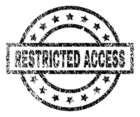 RESTRICTED ACCESS stamp seal watermark with distress style. Designed with rectangle, circles and stars. Black vector rubber print of RESTRICTED ACCESS title with dirty texture. Vectores