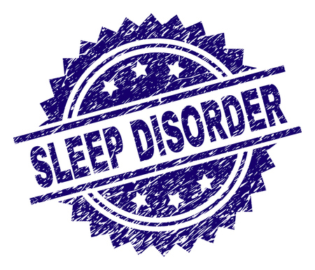 SLEEP DISORDER stamp seal watermark with distress style. Blue vector rubber print of SLEEP DISORDER caption with unclean texture.