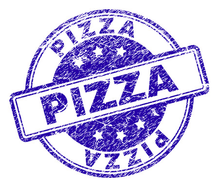 PIZZA stamp seal imprint with grunge texture. Designed with rounded rectangles and circles. Blue vector rubber print of PIZZA title with retro texture.