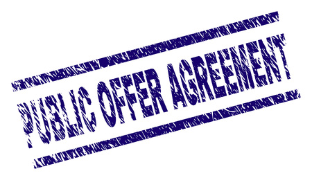 PUBLIC OFFER AGREEMENT seal stamp with grunge style. Blue vector rubber print of PUBLIC OFFER AGREEMENT caption with corroded texture. Text caption is placed between parallel lines.