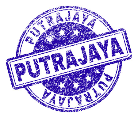 PUTRAJAYA stamp seal watermark with grunge texture. Designed with rounded rectangles and circles. Blue vector rubber print of PUTRAJAYA tag with grunge texture. Illustration