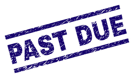 PAST DUE seal stamp with grunge style. Blue vector rubber print of PAST DUE text with dust texture. Text title is placed between parallel lines.