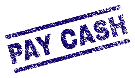 PAY CASH seal print with scratced style. Blue vector rubber print of PAY CASH caption with retro texture. Text caption is placed between parallel lines.
