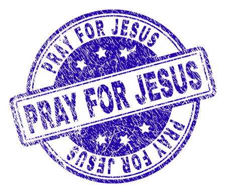 PRAY FOR JESUS stamp seal imprint with grunge texture. Designed with rounded rectangles and circles. Blue vector rubber print of PRAY FOR JESUS tag with grunge texture. Illustration