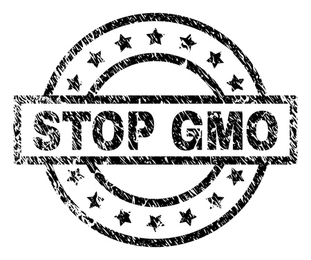 STOP GMO stamp seal watermark with distress style. Designed with rectangle, circles and stars. Black vector rubber print of STOP GMO text with dust texture. Ilustrace