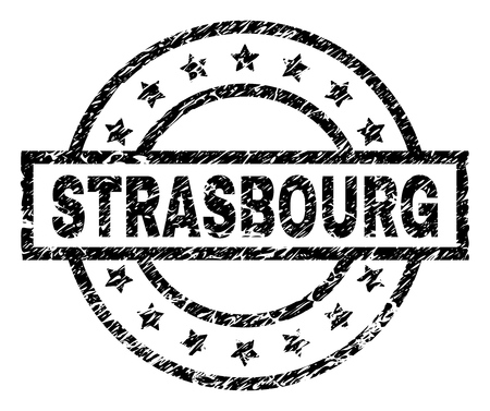STRASBOURG stamp seal watermark with distress style. Designed with rectangle, circles and stars. Black vector rubber print of STRASBOURG text with dust texture.