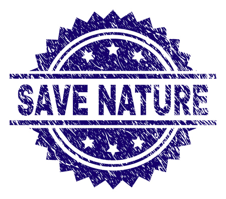 SAVE NATURE stamp seal watermark with distress style. Blue vector rubber print of SAVE NATURE caption with retro texture.