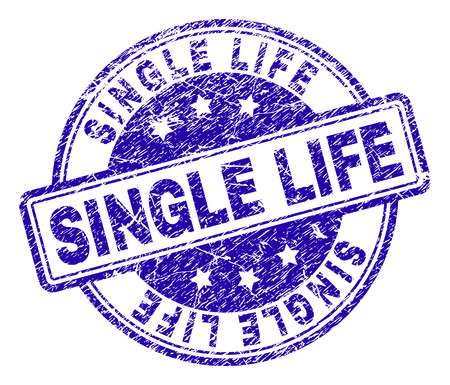 SINGLE LIFE stamp seal watermark with grunge texture. Designed with rounded rectangles and circles. Blue vector rubber print of SINGLE LIFE tag with dust texture. Vectores