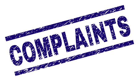 COMPLAINTS seal print with scratced style. Blue vector rubber print of COMPLAINTS label with scratched texture. Text label is placed between parallel lines. Illustration