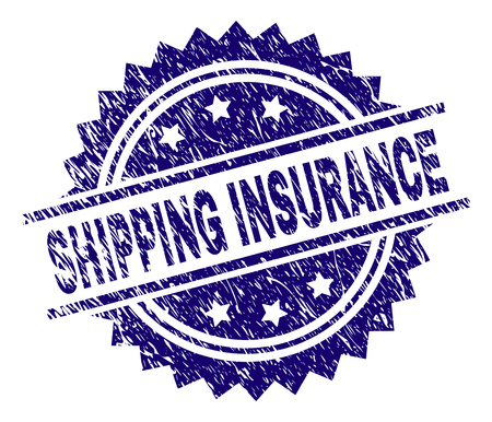 SHIPPING INSURANCE stamp seal watermark with distress style. Blue vector rubber print of SHIPPING INSURANCE title with dirty texture. Vectores