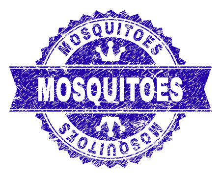 MOSQUITOES rosette stamp watermark with grunge texture. Designed with round rosette, ribbon and small crowns. Blue vector rubber watermark of MOSQUITOES title with grunge style.