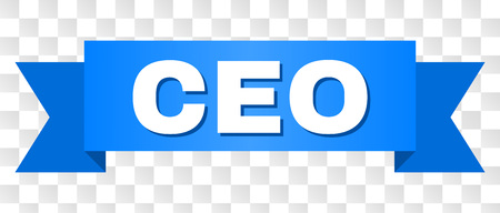 CEO text on a ribbon. Designed with white caption and blue tape. Vector banner with CEO tag on a transparent background.