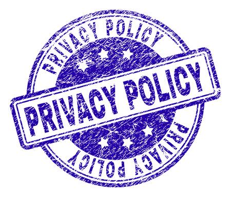 POLITICA SULLA PRIVACY timbro sigillo impronta con texture di soccorso. Progettato con rettangoli e cerchi arrotondati. Stampa in gomma blu vettoriale di tag POLITICA SULLA PRIVACY con texture polvere.
