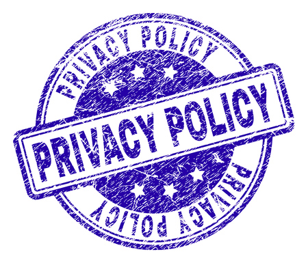 PRIVACY POLICY stamp seal imprint with distress texture. Designed with rounded rectangles and circles. Blue vector rubber print of PRIVACY POLICY tag with dust texture.
