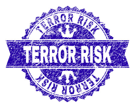 TERROR RISK rosette stamp watermark with distress texture. Designed with round rosette, ribbon and small crowns. Blue vector rubber watermark of TERROR RISK tag with corroded texture.