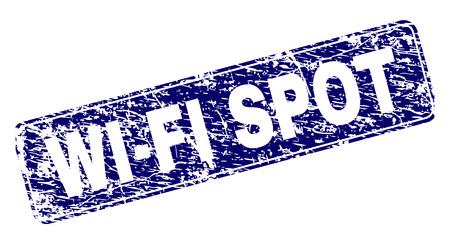 WIFI SPOT stamp seal print with distress texture. Seal shape is a rounded rectangle with frame. Blue vector rubber print of WIFI SPOT title with dirty texture.