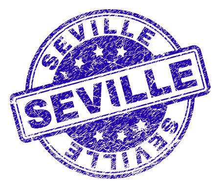 SEVILLE stamp seal imprint with grunge texture. Designed with rounded rectangles and circles. Blue vector rubber print of SEVILLE text with dirty texture.