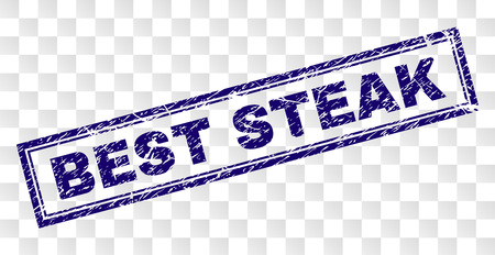 BEST STEAK stamp seal print with corroded style and double framed rectangle shape. Stamp is placed on a transparent background. Blue vector rubber print of BEST STEAK tag with corroded texture. Illustration