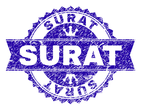 SURAT rosette seal imitation with grunge texture. Designed with round rosette, ribbon and small crowns. Blue vector rubber print of SURAT text with unclean texture.