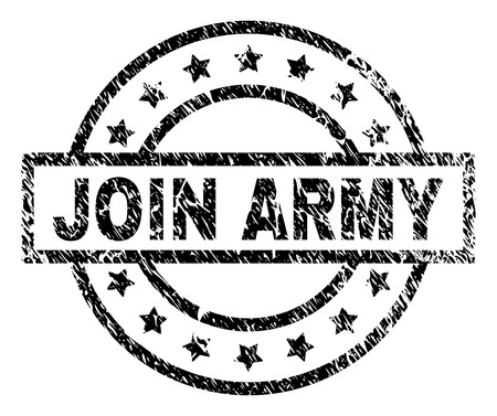 JOIN ARMY stamp seal watermark with distress style. Designed with rectangle, circles and stars. Black vector rubber print of JOIN ARMY caption with scratched texture.