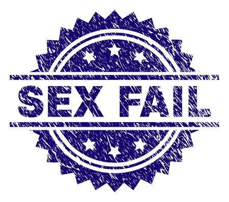SEX FAIL stamp seal watermark with distress style. Blue vector rubber print of SEX FAIL caption with scratched texture.