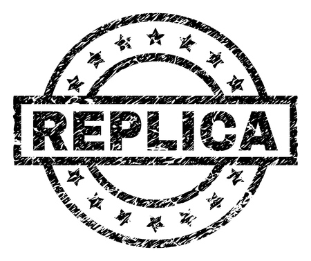 REPLICA stamp seal watermark with distress style. Designed with rectangle, circles and stars. Black vector rubber print of REPLICA tag with retro texture.