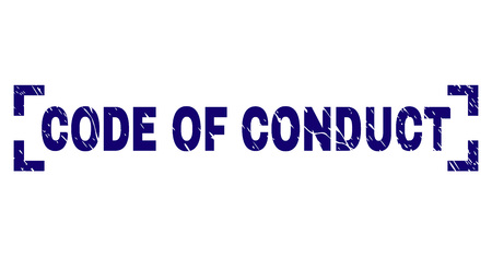 CODE OF CONDUCT caption seal print with corroded texture. Text tag is placed inside corners. Blue vector rubber print of CODE OF CONDUCT with grunge texture.
