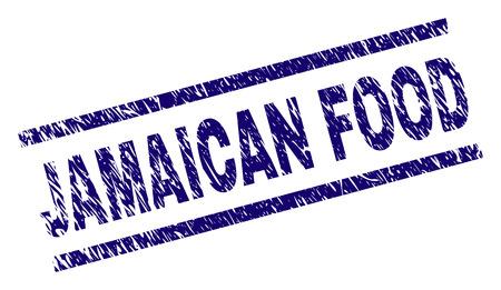 Impression de sceau JAMAICAN FOOD avec un style de détresse. Impression en caoutchouc de vecteur bleu du texte JAMAICAN FOOD avec une texture corrodée. Le titre du texte est placé entre des lignes parallèles.