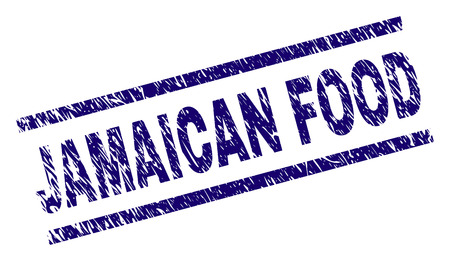JAMAICAN FOOD seal imprint with distress style. Blue vector rubber print of JAMAICAN FOOD text with corroded texture. Text title is placed between parallel lines.