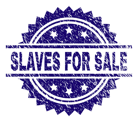 SLAVES FOR SALE stamp seal watermark with distress style. Blue vector rubber print of SLAVES FOR SALE title with grunge texture. Illustration