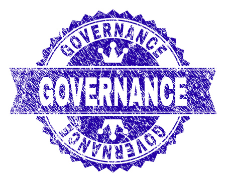 GOVERNANCE rosette stamp imitation with grunge texture. Designed with round rosette, ribbon and small crowns. Blue vector rubber print of GOVERNANCE text with grunge texture.