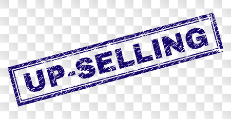 Impresión de sello de sello UP-SELLING con estilo de impresión de goma y forma de rectángulo de doble marco. El sello se coloca sobre un fondo transparente.