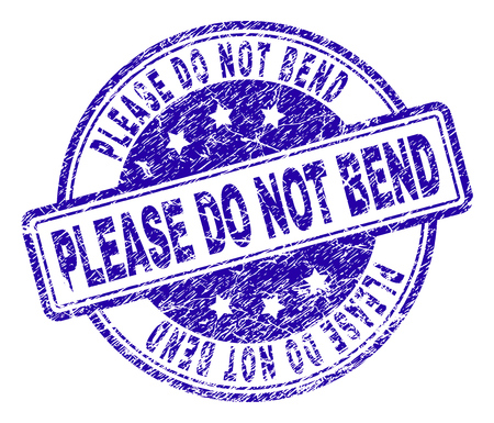 PLEASE DO NOT BEND stamp seal imprint with grunge style. Designed with rounded rectangles and circles. Blue vector rubber print of PLEASE DO NOT BEND caption with grunge texture.
