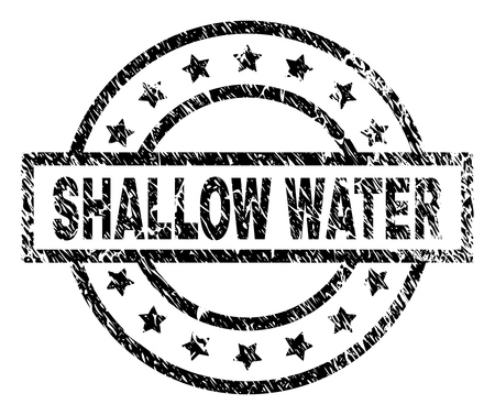 SHALLOW WATER stamp seal watermark with distress style. Designed with rectangle, circles and stars. Black vector rubber print of SHALLOW WATER text with unclean texture.