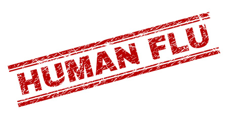 HUMAN FLU seal print with grunge texture. Red vector rubber print of HUMAN FLU text with scratched texture. Text label is placed between double parallel lines.