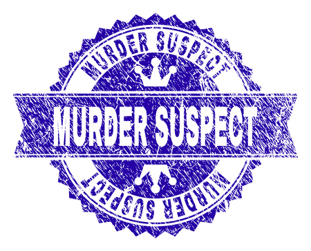 MURDER SUSPECT rosette stamp watermark with grunge texture. Designed with round rosette, ribbon and small crowns. Blue vector rubber watermark of MURDER SUSPECT label with dust texture.