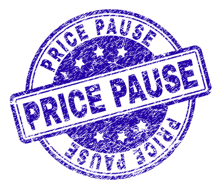 PRICE PAUSE stamp seal watermark with grunge texture. Designed with rounded rectangles and circles. Blue vector rubber print of PRICE PAUSE tag with retro texture.