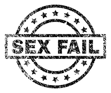 SEX FAIL stamp seal watermark with distress style. Designed with rectangle, circles and stars. Black vector rubber print of SEX FAIL label with retro texture. 向量圖像