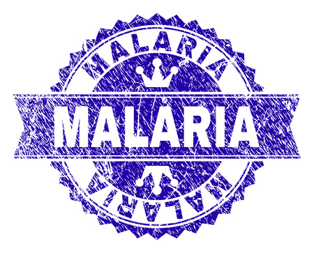 MALARIA rosette stamp seal watermark with distress texture. Designed with round rosette, ribbon and small crowns. Blue vector rubber watermark of MALARIA label with retro texture.