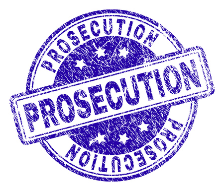 PROSECUTION stamp seal imprint with grunge effect. Designed with rounded rectangles and circles. Blue vector rubber print of PROSECUTION label with grunge texture.