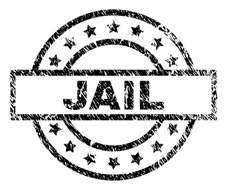 JAIL stamp seal watermark with distress style. Designed with rectangle, circles and stars. Black vector rubber print of JAIL tag with unclean texture.