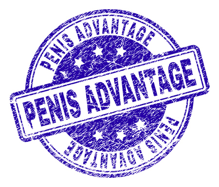 PENIS ADVANTAGE stamp seal watermark with distress texture. Designed with rounded rectangles and circles. Blue vector rubber print of PENIS ADVANTAGE tag with dirty texture. Иллюстрация