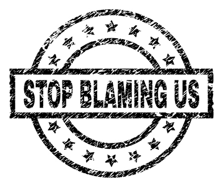 STOP BLAMING US stamp seal watermark with distress style. Designed with rectangle, circles and stars. Black vector rubber print of STOP BLAMING US title with retro texture.
