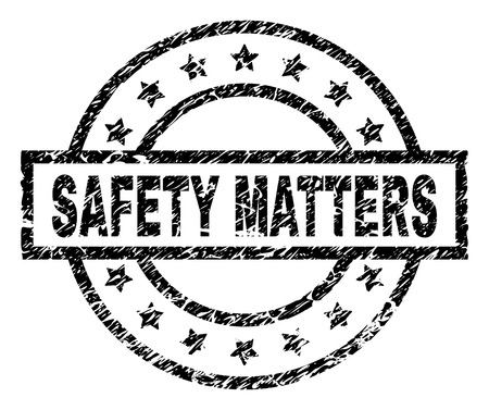 SAFETY MATTERS stamp seal watermark with distress style. Designed with rectangle, circles and stars. Black vector rubber print of SAFETY MATTERS title with corroded texture.