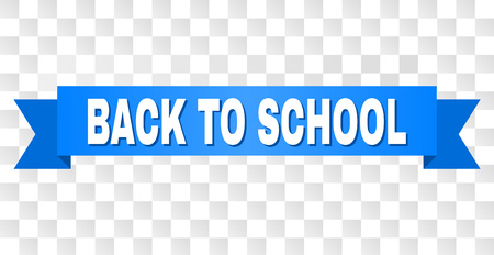 BACK TO SCHOOL text on a ribbon. Designed with white title and blue stripe. Vector banner with BACK TO SCHOOL tag on a transparent background.