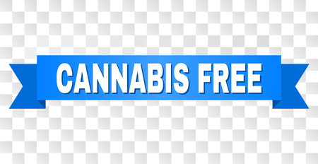 CANNABIS FREE text on a ribbon. Designed with white caption and blue stripe. Vector banner with CANNABIS FREE tag on a transparent background.