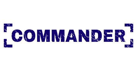 COMMANDER-Textsiegel-Wasserzeichen mit Grunge-Effekt. Die Textbeschriftung wird zwischen den Ecken platziert. Blauer Vektor-Gummidruck von COMMANDER mit Grunge-Textur. Vektorgrafik