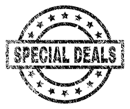 SPECIAL DEALS stamp seal watermark with distress style. Designed with rectangle, circles and stars. Black vector rubber print of SPECIAL DEALS caption with grunge texture.