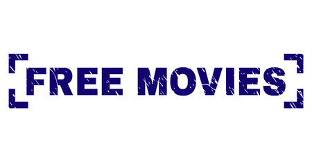 FREE MOVIES caption seal print with distress texture. Text label is placed between corners. Blue vector rubber print of FREE MOVIES with scratched texture.