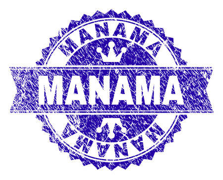 MANAMA rosette stamp imprint with distress style. Designed with round rosette, ribbon and small crowns. Blue vector rubber print of MANAMA caption with dirty style. Illustration